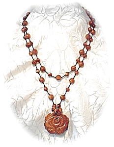 Necklace Carved GOLDSTONE Rose with Beads  (Image1)
