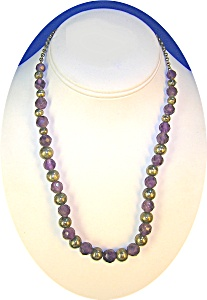 Necklace Faceted Amethyts Sterling Silver Bead  (Image1)