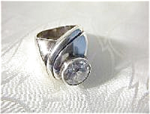 Sterling Silver Ring With Huge Cz . . . . . .