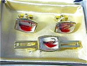 Fish ANSON Fly Fisherman Cuff Link & Tie Clip (Image1)
