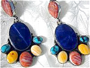 Native American Sterling Silver Turquoise Spiny Earring
