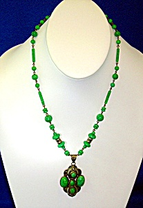 Green Glass Silver Filigree Necklace Czechoslovakia (Image1)