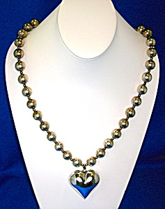 34 Inch Sterling Silver 13mm Beads and Heart Pendant (Image1)