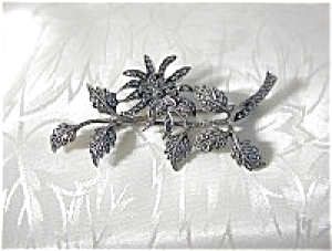 Antique English Sterling Silver & Marquisite Brooch