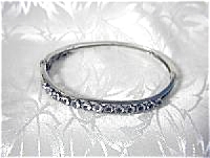 European Silver and Claw Set Crystal Bangle (Image1)
