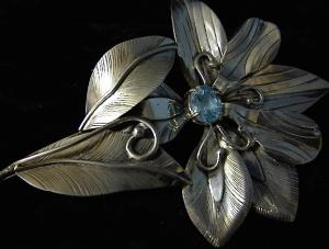 Sterling Silver  Blue Topaz Flower Pin Signed JD (Image1)