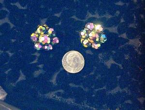 Older pair of Glass Borealis Clip Earrings. (Image1)