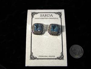 Sterling Silver And Deep Blue Topaze Earrings
