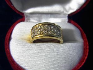 Goldtone And Pave Diamonte Ring . . . . . . .