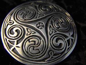 Silver, Pewter Brooch Pin Marked St. Justine. (Image1)