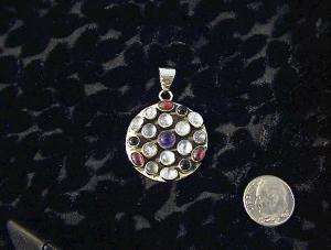 Sterling Silver Moonstone Amethys Garnet Pendant (Image1)
