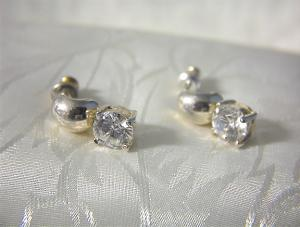 Sterling Silver & Large Sparkling Cz Earrings