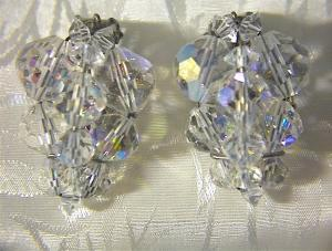 Sparkling Borealis Crystal Clip Earrings