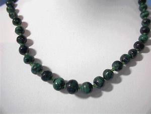 Graduated Malachite Glass Spacer Bead Necklace . (Image1)