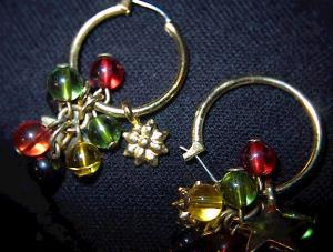 Multi Colored Glass Bead Pierced Earrings