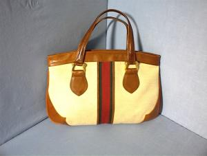 ELLEN CARTER Leather and Canvas Handbag (Image1)