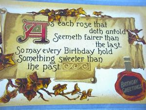 Very Old Birthday Post Card. (Image1)