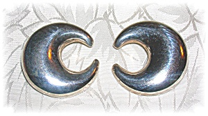 1 1/2 Inch Sterling Silver Mexican Moon Clip Earrings