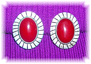 Large Mexican Sterling Silver & Coral Clip Earrings (Image1)