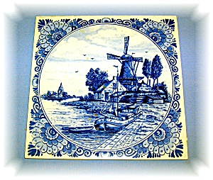 Handpainted Dutch Delft Tile, 5 3/4 X 5 7/8