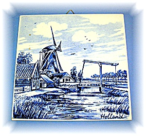 Dutch Blue Delft Handpainted Tile, 5 3/4 X 5 7/8