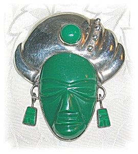 Mexican Vintage Sterling Silver And Jade Brooch (Image1)