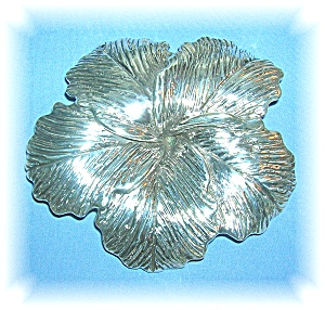 4 Inches Wide Sterling Silver Hibiscus Flower Brooch (Image1)