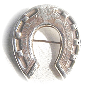 English Victorian Silver Horseshoe Brooch (Image1)