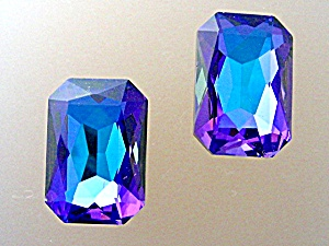 Glass Irridescent Purple Clip Earrings (Image1)