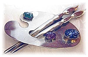 Huge Artist's Palette Sterling Silver Brooch (Image1)