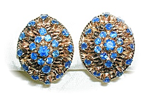 Earrings 14K Gold  4ct  Each Sapphire Clip Antique  (Image1)