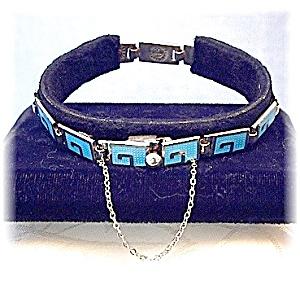 MARGOT De Taxco Sterling Silver  Blue Enamel Bracelet (Image1)