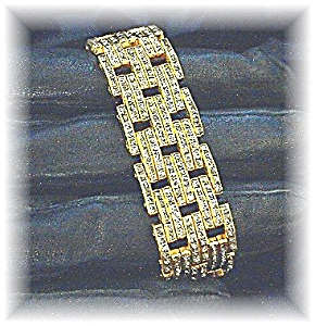 Fabulous Gold and Pave Rhinestone Bracelet (Image1)
