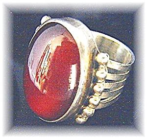 Designer Sterling Silver Carnelian Ring . . . . . . . (Image1)