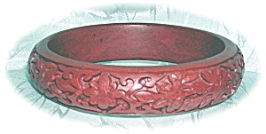 Fabulous Carved Rust Redcinnabar Bangle Brace