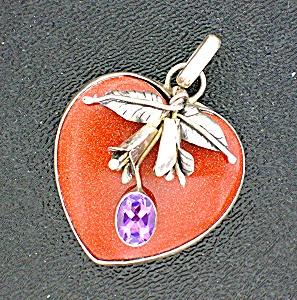 Pendant Sterling Silver Goldstone Amethyst Heart Flower (Image1)