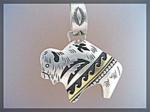 Tommy Singer Buffalo Sterling Silver Gold Pendant