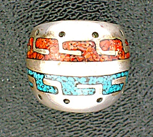 Native American Sterling Silver Chip Inlay Coral Turquo (Image1)