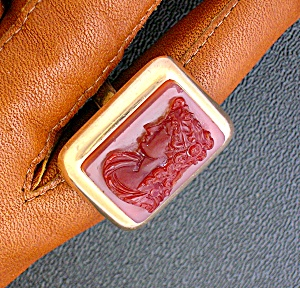 15k Carnelian Cameo Art Deco Ring