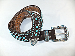 Belt Nocona Black Suede Leather Turquoise Stones Silver (Image1)