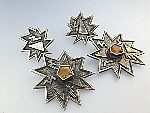 Earrings Citrine Sterling Silver Stars  Dangle Clips US (Image1)