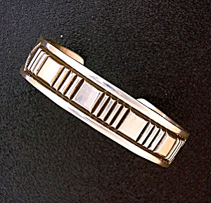 Native American Sterling Silver Mary And Ken Bill Cuff