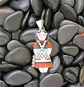 Sterling Silver Zuni Coral Mother Pearl Turquoise Penda (Image1)