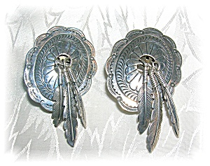 Signed B F Sterling Silver Conco Featherf Clip Earrings