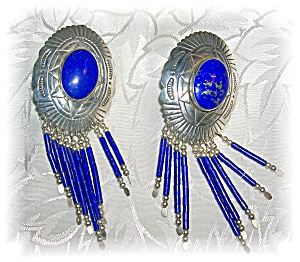 Sterling Silver And Blue Lapis Large Clip Earrings
