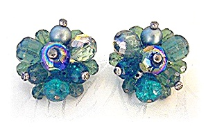 Crystal Blue Green Borealis German Clip Earrings (Image1)