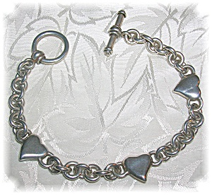 Silver Hearts 7 1/2 Inch Toggle Clasp Bracelet