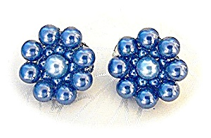 Blue Faux Pearl Flower Clip Earrings JAPAN (Image1)