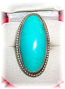 Native American Turquoise Sterling Silver Ring 70s