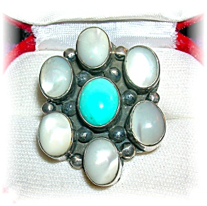 Native American Sterling Silver Turquoise Moonstone Rin